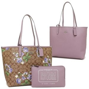 Coach Reversible Lily Khaki Tote with Pouch